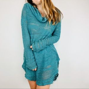 Free people teal burnout oversized cowl sweater